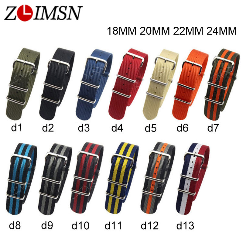 ZLIMSN Nato Nylon Strap Watchbands Watch Belt Army Sport Watchband 18mm 20mm 22mm 24mm Relojes Hombre