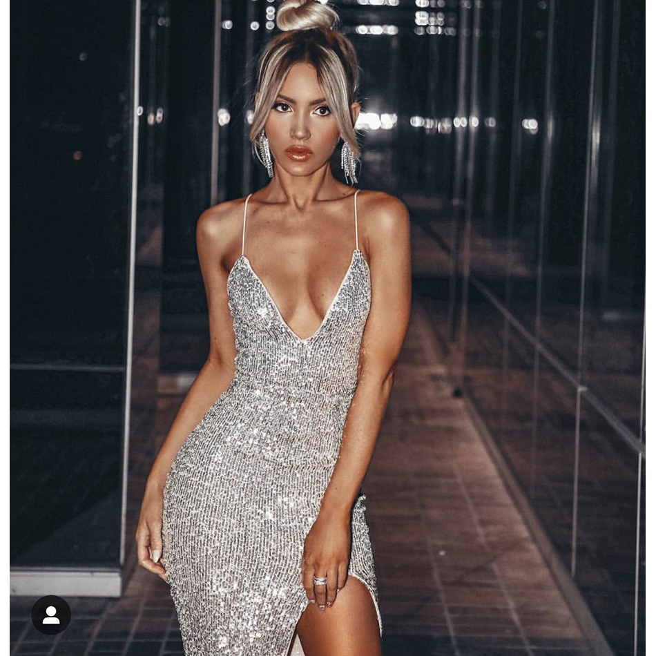 2019 New Fashion Summer Dresses Sequined Women Dresses Sexy Sleeveless Celebrity Clothes Evening Party Dress
