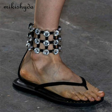 MIKISHYDA 2017 catwalk diamond cutouts Flat Flip Flop Thong Roman Sandals women sheepskin leather strappy shoes Black