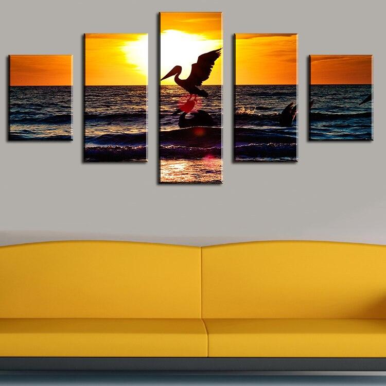 웃 유5 Piece sunset with two pelicans Modern Home Wall Decor Canvas ...