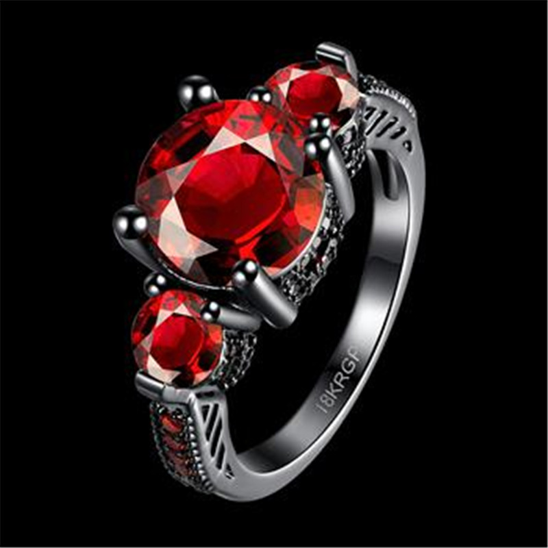 Wholesale Size 6/7/8 Black Gun Plated Colour Round Crystal Rings For Women And Men Stainless Steel Wedding Ring Vintage Jewelry