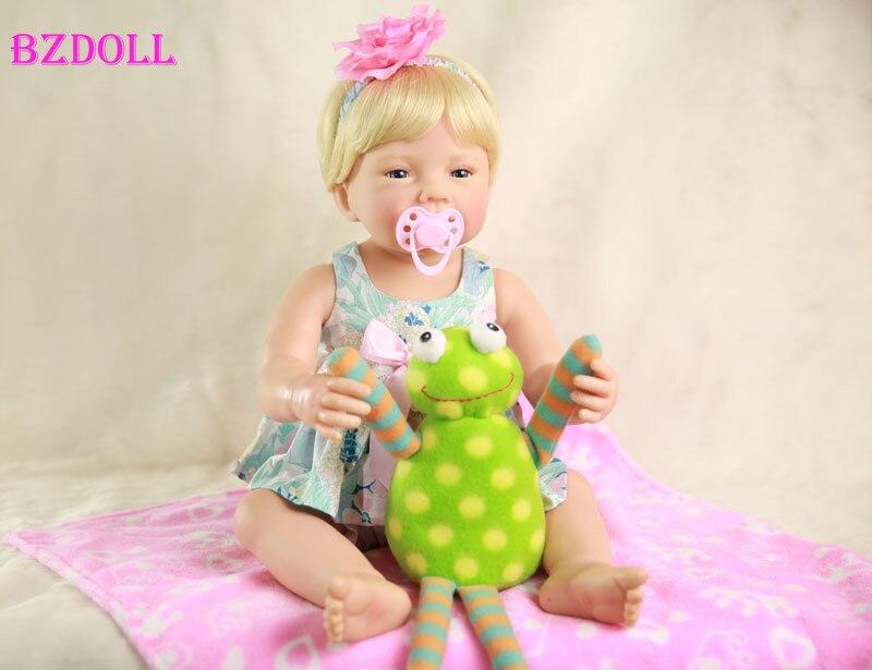 55cm Full Body Silicone Reborn Baby Doll Toys 22inch Newborn Babies Doll Birthday Gift Child Bathe
