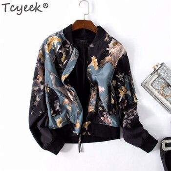 Tcyeek Womens Jackets and Coats Silk Coat Female Streetwear Short Print Jacket Spring Autumn Clothes Chaqueta Mujer 2019 LWL1623