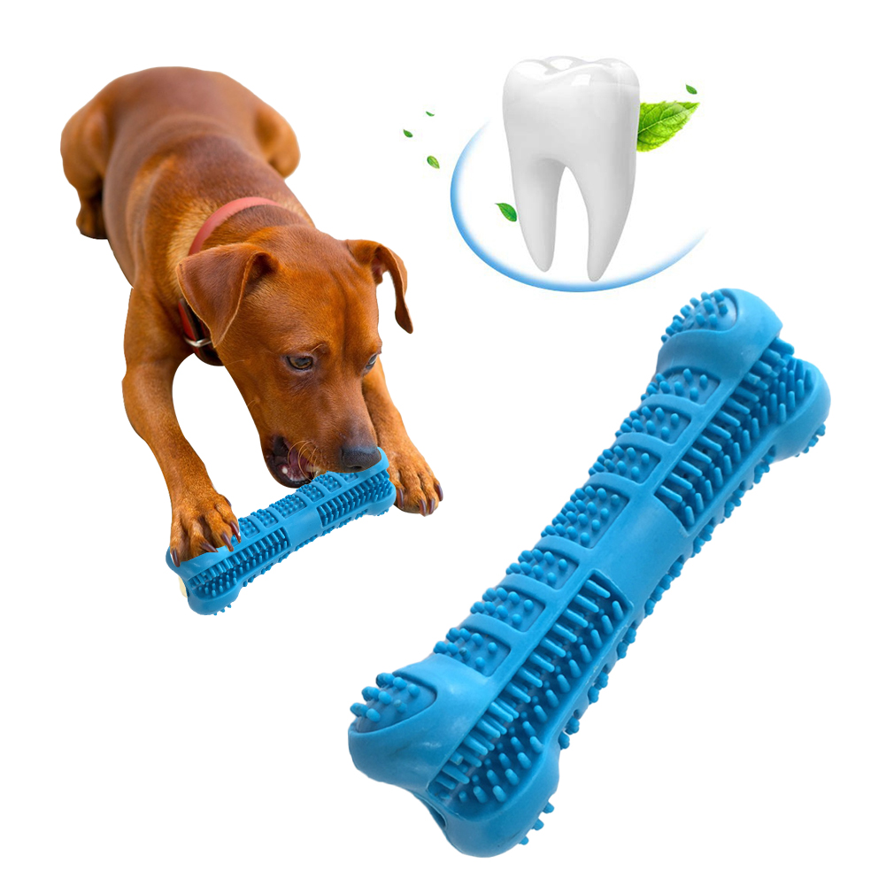 Blue Bone-shaped Dog Toothbrush Chew Brushing Toy Teeth Cleaning Oral Hygiene Pet Supplies