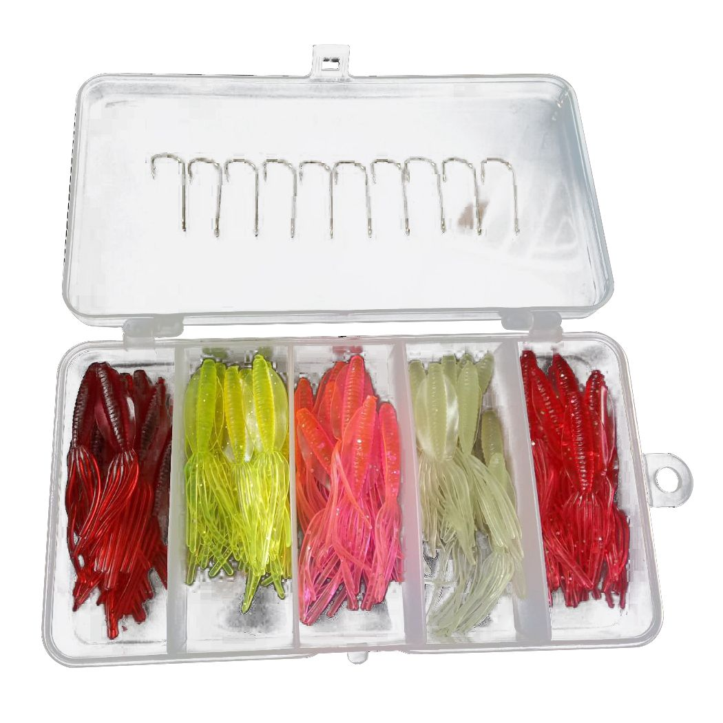 New Lifelike Soft Fishing Lure Squid Jigs Tube Silicone Bait Artificial Lures Fishing Baits Dropshipping 1 box of 50 (5 colors