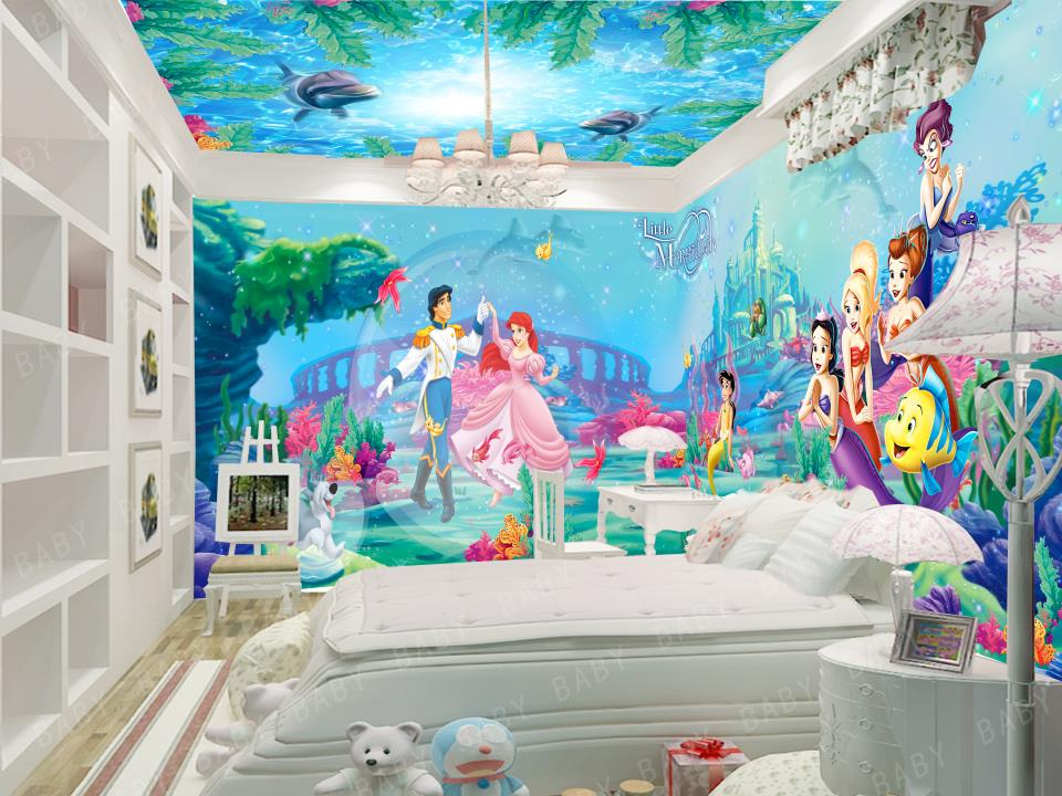 custom 3d photo wallpaper kids room mural Child theme Mermaid background wall painting sofa TV background non-woven wall sticker 3d photo wallpaper custom room mural non woven sticker retro style bookcase bookshelf painting sofa tv background wall wallpaper