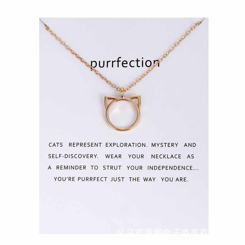 Fashion Jewelry Purrfection cat ear alloy pendant short necklace For Women Gift