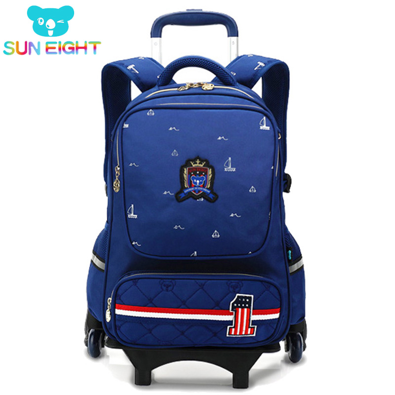 SUN EIGHT Wheeled Bag School Bag School Backpack For Girls boy Six Wheels Trolley School Bags