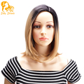 Short Brown Synthetic Wigs Natural Cheap Hair Wig For Black Women Heat Resistant Synthetic Wigs Ombre Black Blonde No Bangs 12''