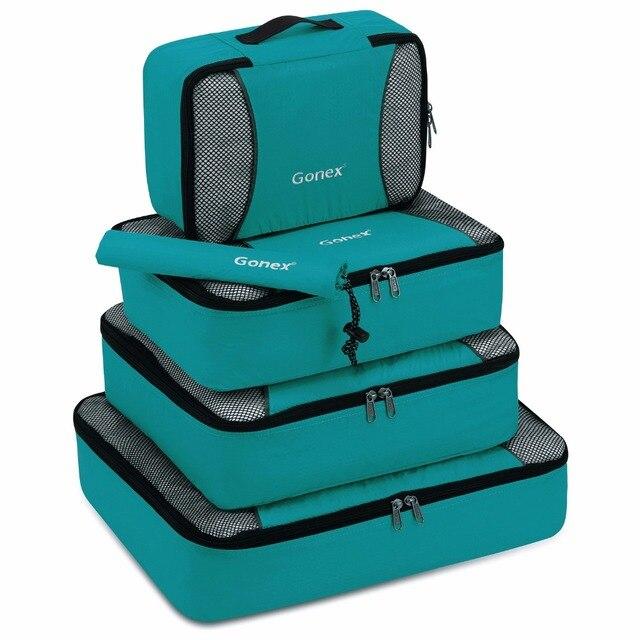 Gonex 5 pçs/set Closet Wardrobe Saco de Armazenamento De Bagagem Mala de Viagem Organizador Pendurado Ziplock Roupas Sapato Malha Cubos de Embalagem