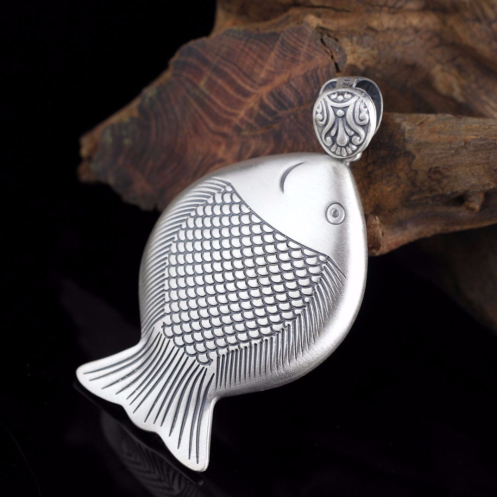 Thai Silver Vintage Fish Necklace Pendant 100% 925 Sterling Silver Sweater Chain Pendant Fine Jewels Wholesale FreeshippingThai Silver Vintage Fish Necklace Pendant 100% 925 Sterling Silver Sweater Chain Pendant Fine Jewels Wholesale Freeshipping