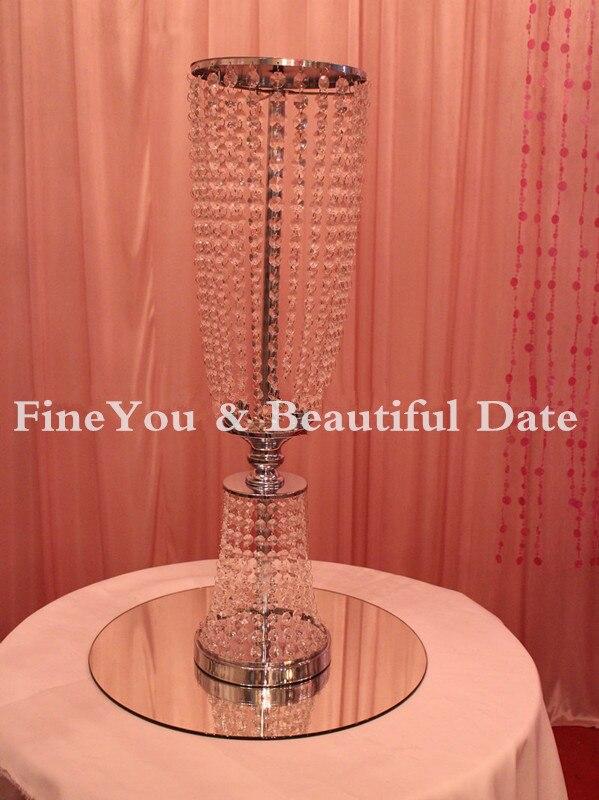 80 см/31,4 ''высокий акрил, стразы, Свадьба дорога свинца в золоте/серебро ваза с цветами для середины стола в качестве украшения на свадьбу вечерние украшения для стола 5 шт./партия - 6