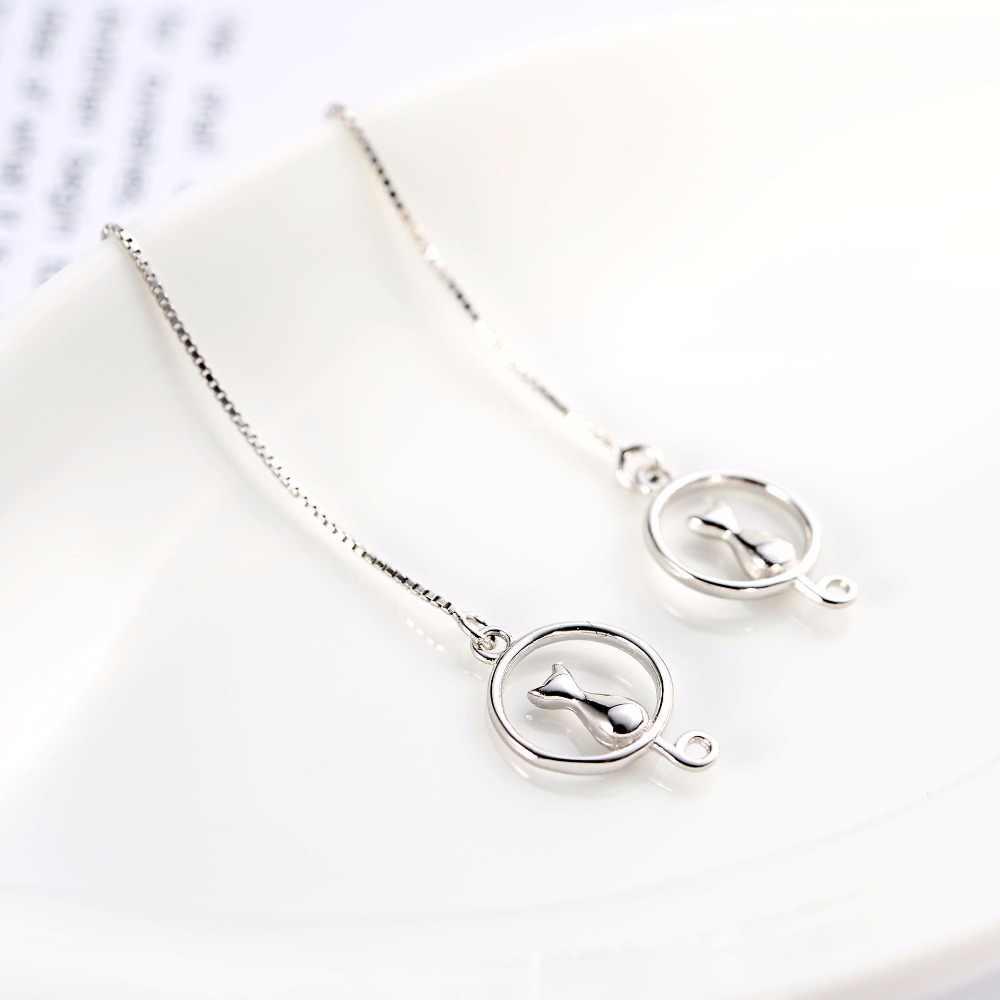 DreamySky Настоящее серебро 925 проба длинные лунные сережки кошки для женщин ювелирные изделия Модные массивные корейские Серьги Pendientes Brincos