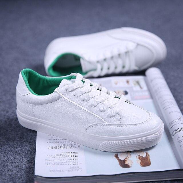 Бесплатная доставка 2017 весна новая мода женская обувь повседневная спорт дышащий PU белый обувь женская повседневная обувь