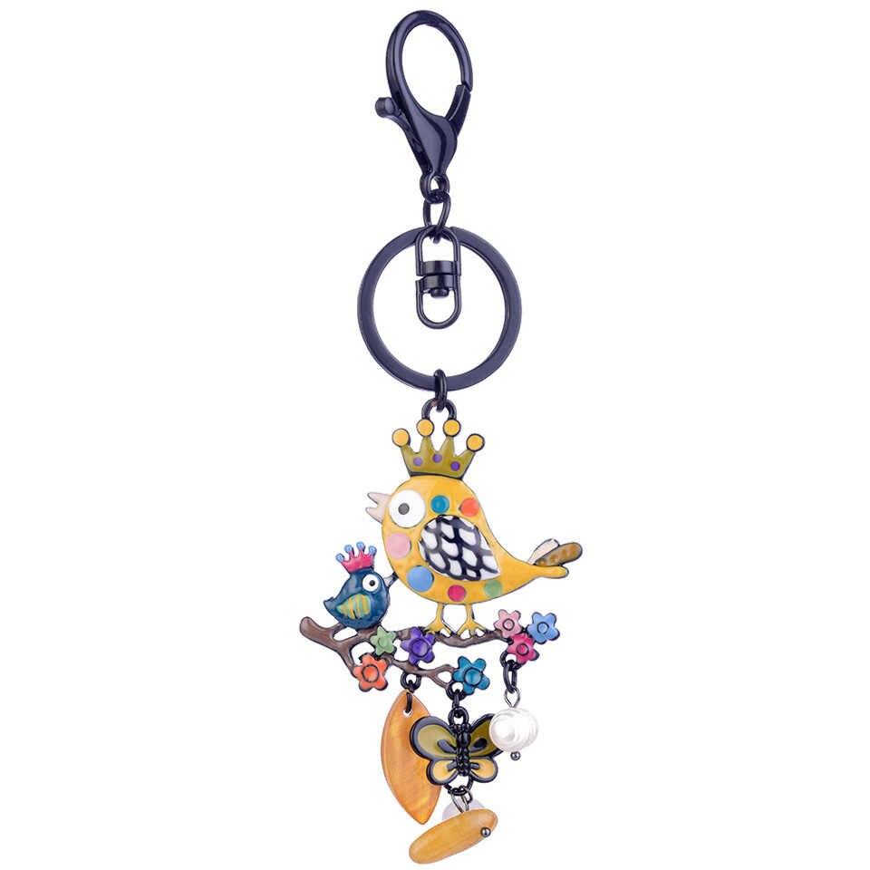 Màu Men Chim Với Hoàng Gia Vương Miện Ngọc Trai Thời Trang Bướm Hoa Móc Chìa Khóa Vòng Kim Loại Xe Ô Tô Mặt Dây Chuyền Móc Khóa Dành Cho Nữ Túi