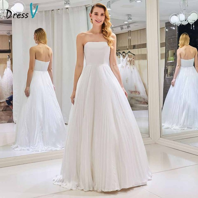 be13e476f9b03 Dressv strapless elegant wedding dress sleeveless a line pleats zipper up floor  length bridal outdoor&church wedding dresses
