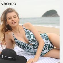 Charmo Womens Monokini 2019 new V-Neck One Piece Swimwear Print Bathing Suit Deep Plunge Padded Sexy Swimsuit
