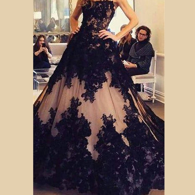 Black/Champagne Ball Gown Quinceanera Dresses Prom Evening Pageant ...