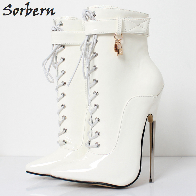 Sorbern Elegant White Shiny Ankle Boots Metal High Heels 18Cm Pointed Toe Female Boots 2018 Shoes Women High Heels Boots Sexy women ankle boots platform chunky heels pointed toe black women high heels boots sexy laides party boots shoes heels