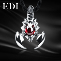 EDI Woman/Men Fashion 925 Sterling Silver Scorpion Natural Stone Pendant Necklaces Inlaid Garnet Necklace For Women/Men Lovers