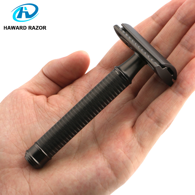 HAWARD Safety Razor Double Edge Manual Razor Classic Men's Shaving Razor Metal Handle 10 Blade Hair Removal Shaver