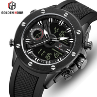 GOLDENHOUR Men Watch Top Brand Fashion Sports Men's Watches Waterproof Silicone Quartz Digital Reloj Hombre Relogio Masculino
