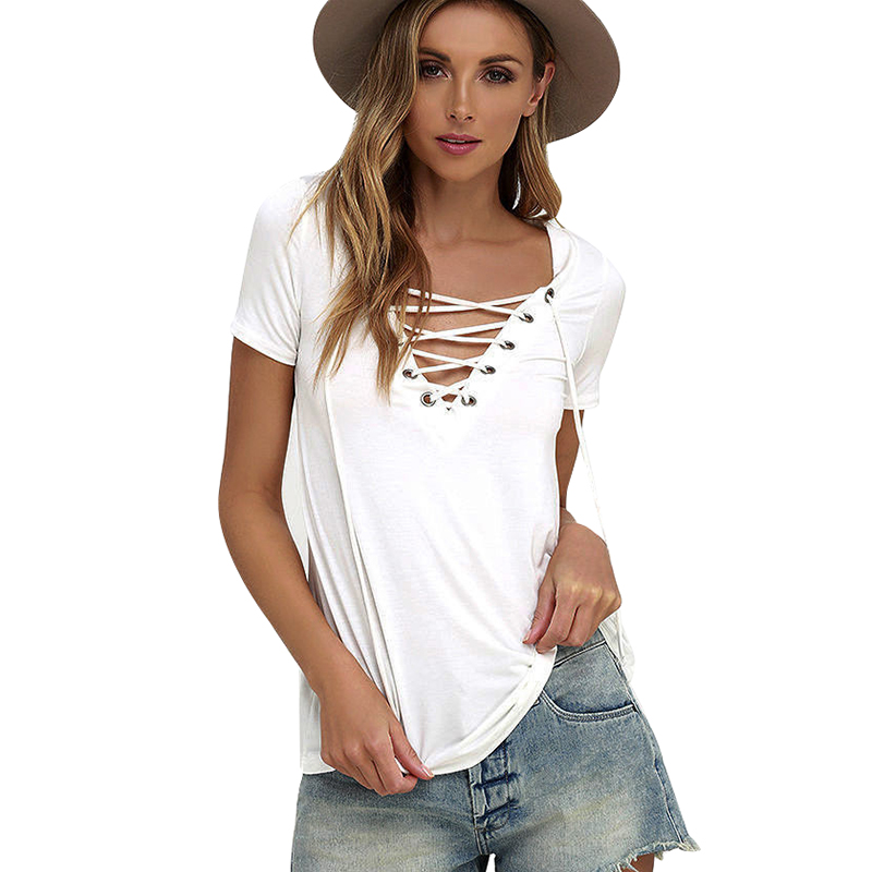 Women  V Neck Blouse Lace Up Causal Short Sleeve Shirt Women Hollow out Strappy Front Blouses Ladies Tops Blouse 8 Colors