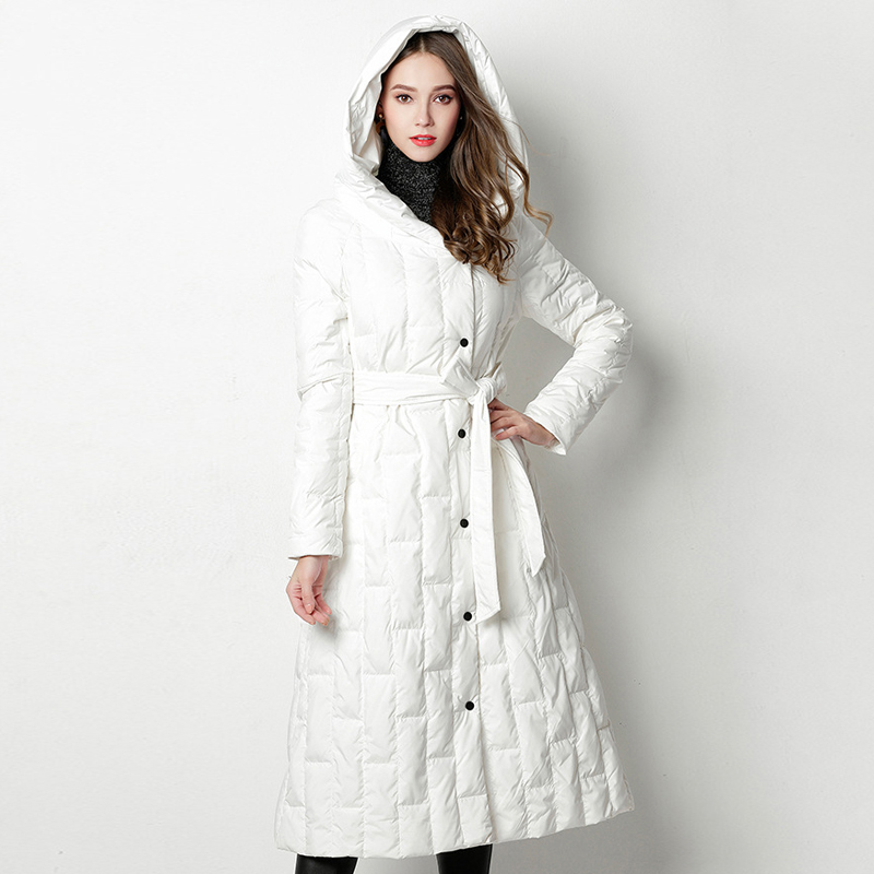 YNZZU Elegant Winter Women's   Down   Jacket Long 90% White Duck   Down     Coat   Woman Single Breasted Hood Warm Outwear with Sashes O795