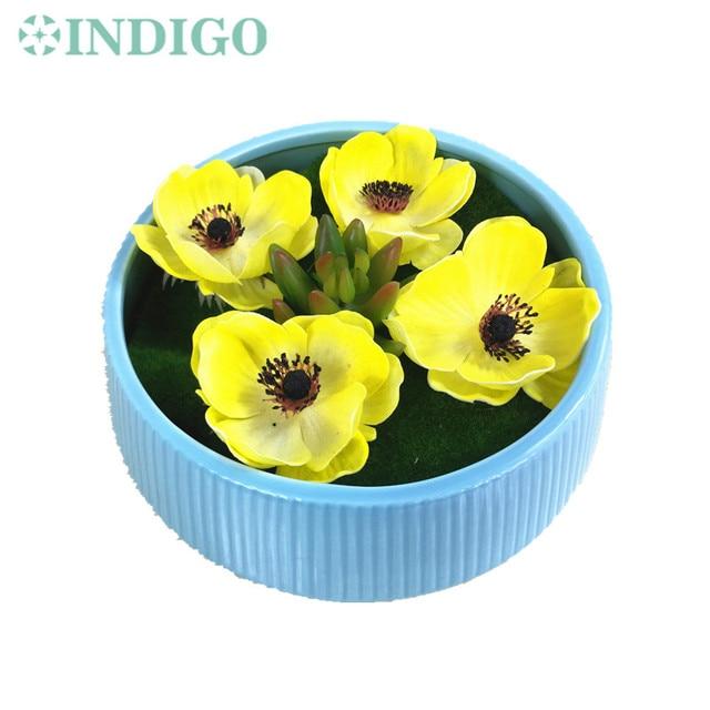Indigo exclusive sale 1 set yellow poppy flower bonsai succulent indigo exclusive sale 1 set yellow poppy flower bonsai succulent plant with vase artificial flower mightylinksfo