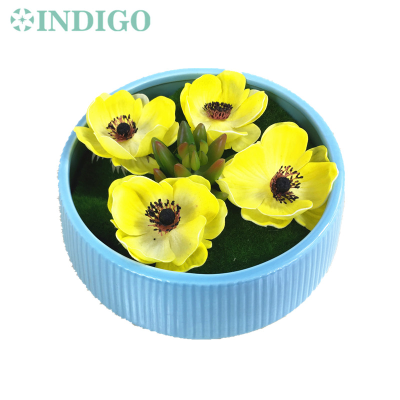 INDIGO Exclusive Sale 1 SET Yellow Poppy Flower Bonsai Succulent Plant With Vase Artificial Flower Decoration Free Shipping
