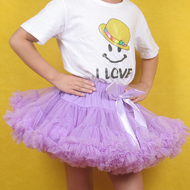 girls skirt baby super fluffy chindrens cream with pink soft ballet tutu kids baby fluffy pettiskirts Free shipping