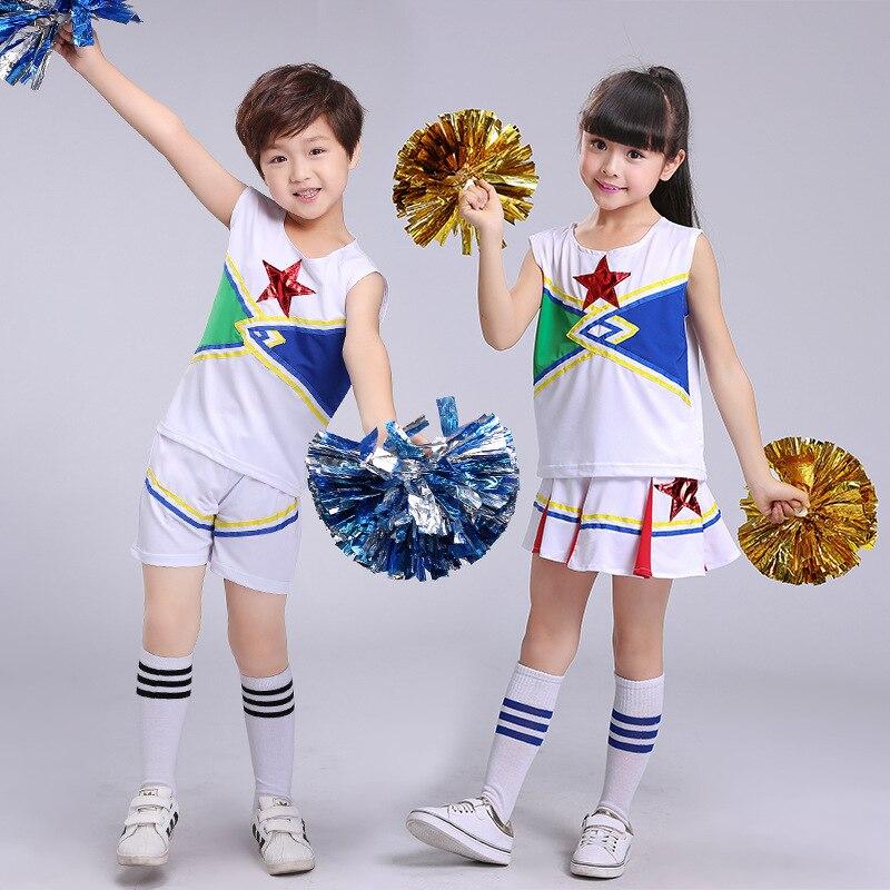 Sleeveless Boys Girls Dance Costume Cheerleader Costume Modern Dance Costumes Kids Cheerleader Costume Tank Dress Children Suits