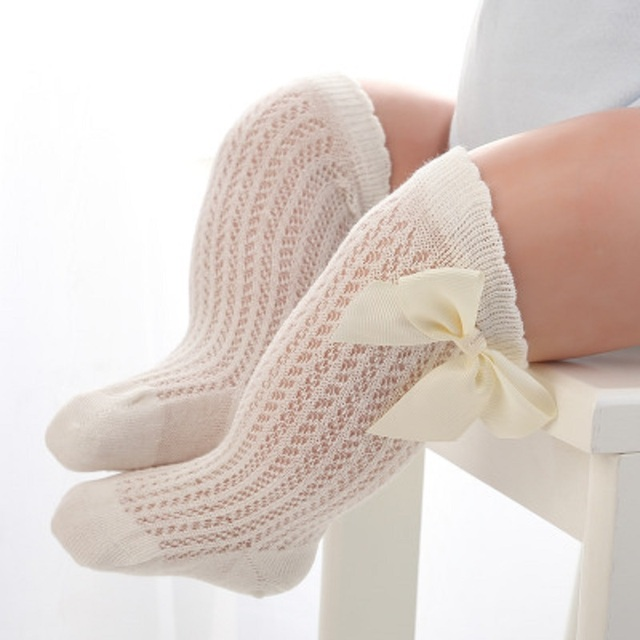 baby girls socks summer mesh socks with bow over knee high longprincess infant cotton,082 white pink grey,24M