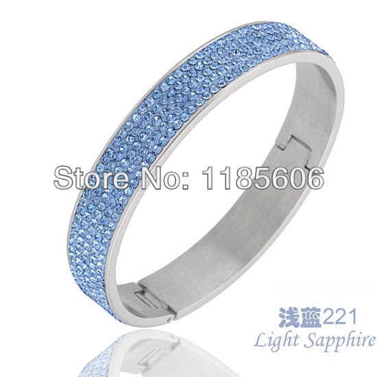 Hot fashion Simple bule Crystal jewelry Stainless steel bangles & bracelets women 5 rows - CRYSTAL BEADS store