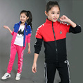 Spring Autumn Girls Sports Suits Cotton Long Sleeve Kids Tracksuits Patchwork Girl Sportswear 3 4 5 6 7 8 9 10 11 12 13 14 years