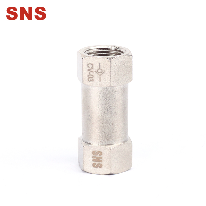 SNS CV Series BSPP Female Full Ports Air Check Valve One Way Non Return Nickel-Plated Brass Valve
