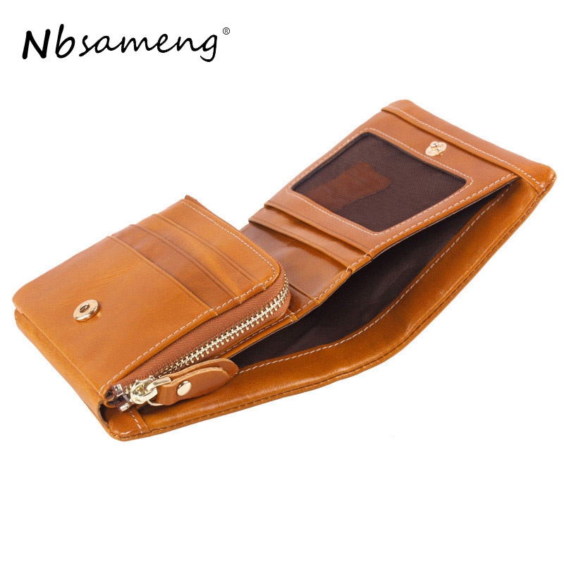 NBSAMENG Women's Vintage Genuine Leather Big Capacity Credit Card ID Cash Holder Wallet Short Purse Zipper Coin Pocket etya bank credit card holder card cover