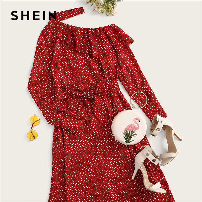Shein polka dot print plissado guarnição cortar pescoço sexy vestido roupas femininas 2019 primavera glamourosa manga longa com cinto midi vestido