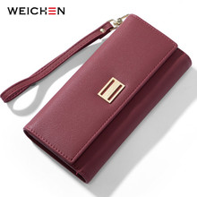 WEICHEN Many Departments Wristband Long Clutch Wallets for Women Card Holder Cell Phone Pocket Female Wallet Purse Carteira недорого