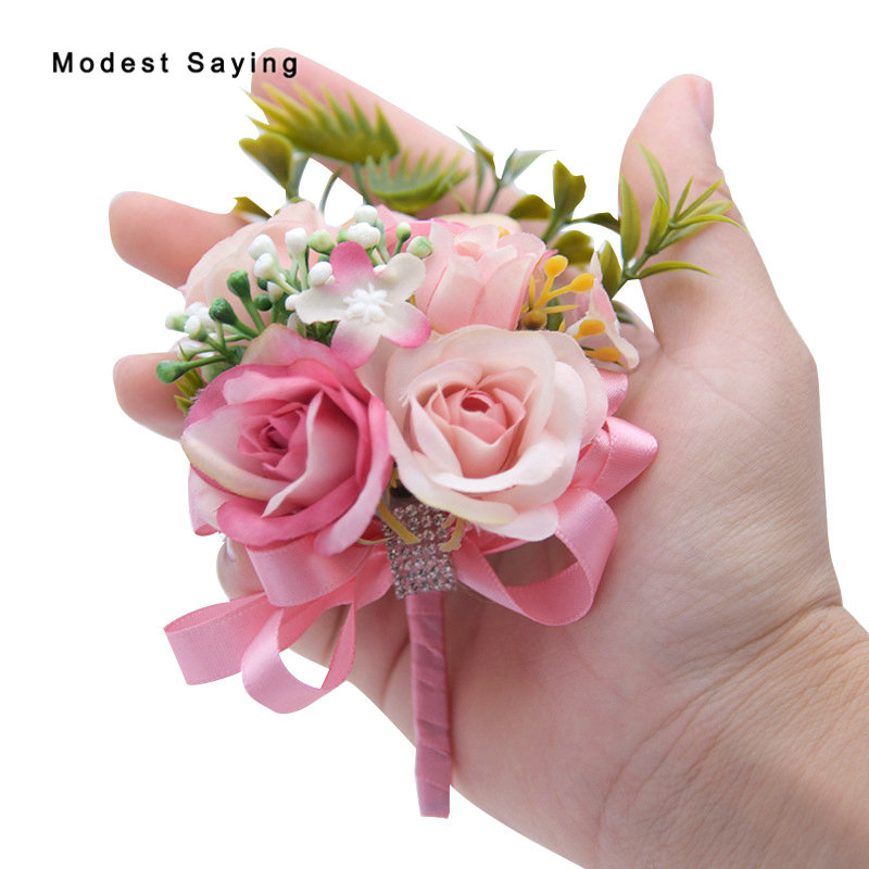 2pcs Garden Pink Best Man Flowers Corsage For Groom Groomsman
