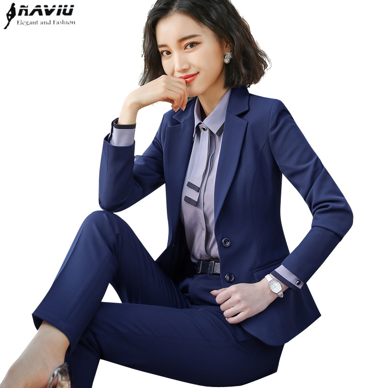 New Fashion two piece set women pant suits for office ladies long sleeve slim blazer and