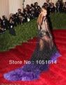 Alfombra roja vestidos de las Celebridades Beyonce myriam de manga Larga de Plumas Cristales Cordón de La Sirena Piso-longitud Negro Custome