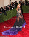 Red Carpet Celebrity dresses Beyonce Myriam fares Long sleeve Feather Lace Crystals Mermaid Floor length Black Custome