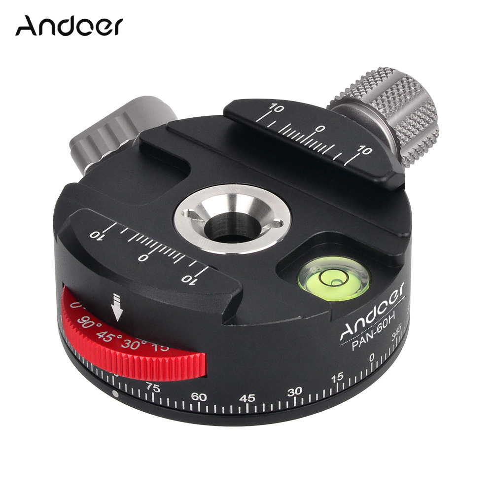 Andoer PAN 60H Aluminum Alloy Panoramic Ball Head Tripod Head with Indexing Rotator AS Type Clamp