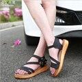 Обувь Женщина Летние Сандалии Стиль Мода Полые женские Квартиры Повседневная Обувь Женщина Рим Женская Обувь Большой Размер Бесплатная Доставка