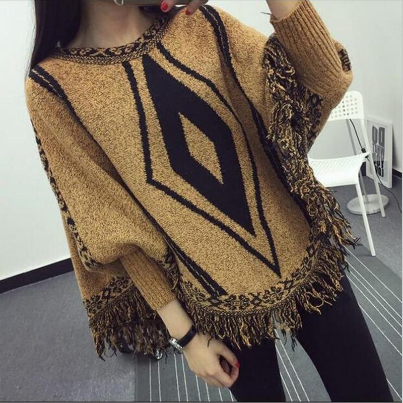 2016 New Autumn Winter Casual Poncho font b women b font Cotton O Neck Sweaters Diamond