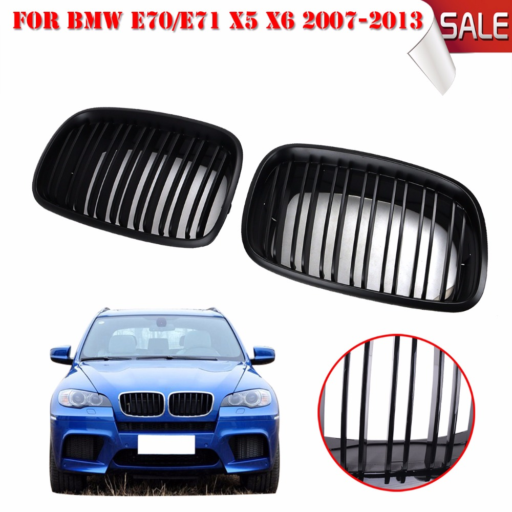Matte black dual slat grill front kidney grille for bmw e70 e71 model x5 x6 suv