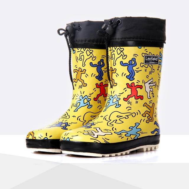 96745e682 Botas de lluvia de dibujos animados para niños primavera Otoño Invierno  niños niñas Zapatos Bebé niños