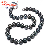 DAIMI 9.5 12MM Big Black Tahitian Pearl Necklace Rare Natural Pearl Choker Necklace Classic Pearl Necklace Anniversary Present