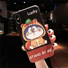 Applicable to iphone6 7 8 X XR XMAX mobile phone shell painted lucky far machine cat TPU soft plastic drop protection sleeve